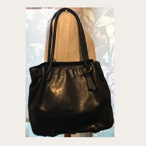 Eileen West Black LRG Leather Shoulder Tote Bag